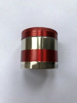 30mm MINI RED/SILVER TOBACCO HERB AMSTERDAM GRINDER 4 PART