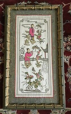 Antique Chinese Qing Dynasty Silk Panel Embroidered Textile