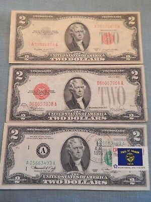 (3) US $2 Notes 1928F Red Seal, 1953B Red Seal & 1976 FRN w/Stamp  Lot D1H