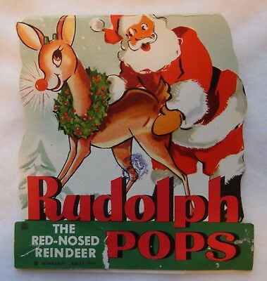 Vintage 1950's Rudolph The Red-Nosed Reindeer Pops Package Blaney Candies, NYC