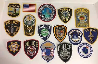 Lot Of 16 Police Sheriff Correction Vest Hat Patches Patch Unused