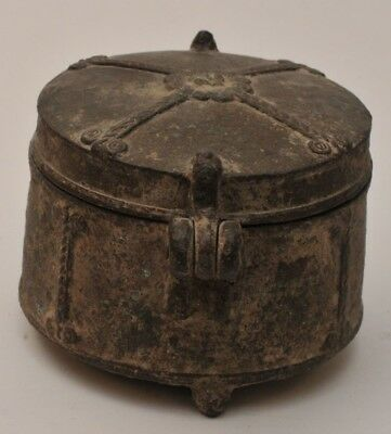 ANTIQUE EARLY 18TH C ROUND BRASS BOX from one HUGE COLLECTION