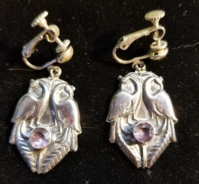 Vintage Pair 925 Sterling Silver Amethyst  Figural Peacock Birds Dangle Earings