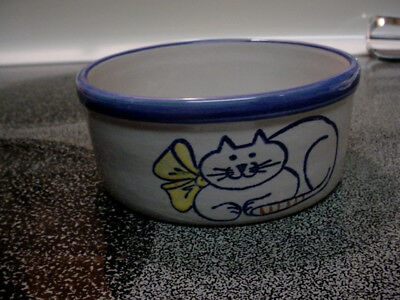 "Louisville Stoneware Kentucky Pottery 5"" Cat Food / Water Bowl - Nice"