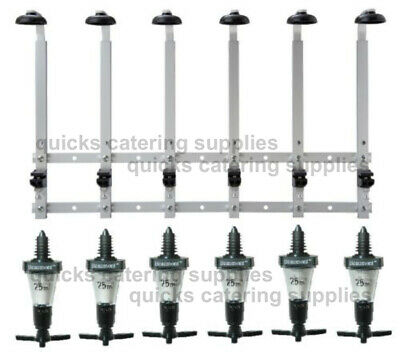 6 Bottle Wall Bracket Rack with 25ml Beaumont Optic Spirit Measures 70cl / 1L