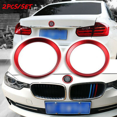 2x Red Front&Rear Logo Sticker Circle Decor Ring Aluminum Fit for BMW 3/4 M3 M4
