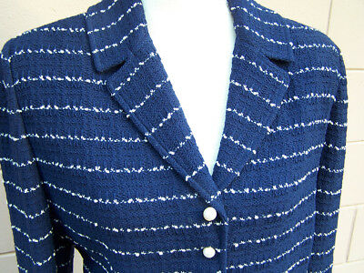 St. John Marie Gray Sz 12 Suit Skirt Jacket Santana Knit Wool Blue Stripe Pearl