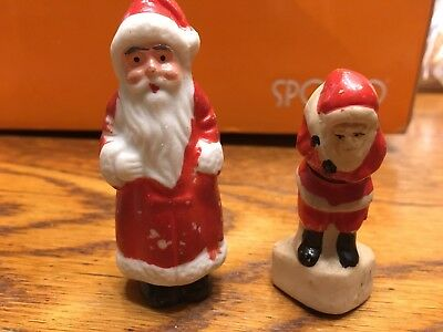 2 Vintage Japan Bisque Santa Father Christmas Porcelain Putz Village Figure