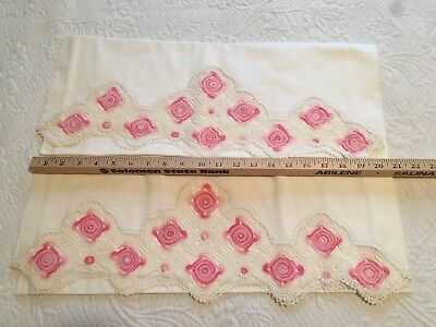 Set Vintage Handmade White Pillowcases with Pink Crocheted Design & Edging