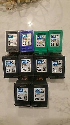 Mixed lot of 10 Genuine HP empty ink cartridges