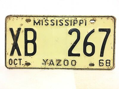 1968 YAZOO CITY COUNTY Mississippi License Plate Car Truck Delta Cotton