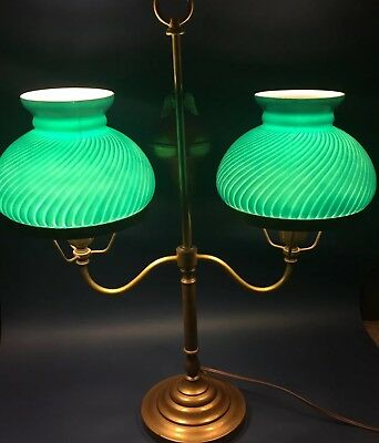 Antique Brass Double Student Lamp Green Painted Shades w/ Eagle Finial