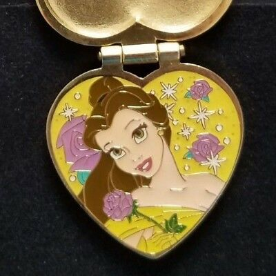 Disney DLR Hearts Jeweled Locket Hinged Pin Belle Rose Beauty and the Beast