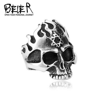 Fashion Vintage Punk Man's Stainless steel Ring - Star of David Fire skull 12#