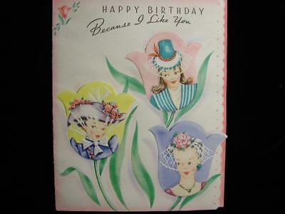 "Vintage ""because I Like You.......!!"" Birthday Greeting Card"