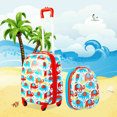 2PC Kids Luggage Set 12'' Backpack & 16'' Rolling Suitcase for School Travel ABS
