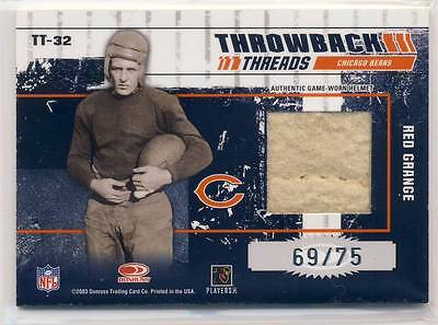 2003 Donruss Elite Throwback Threads WALTER PAYTON RED GRANGE JERSEY /75 BEARS