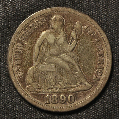 1890-P Seated Liberty Dime -- VF to XF Condition
