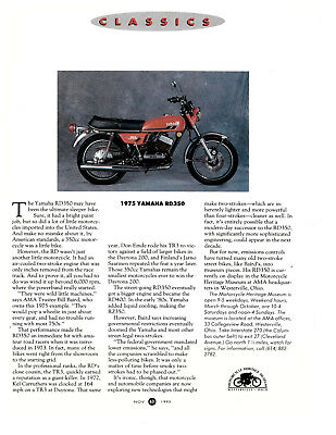 1975 Yamaha RD350; AMA Featured Classic; RD400 RZ350