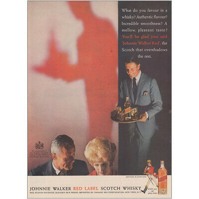 1961 Johnnie Walker Red Label: Favoir In a Whisky Vintage Print Ad