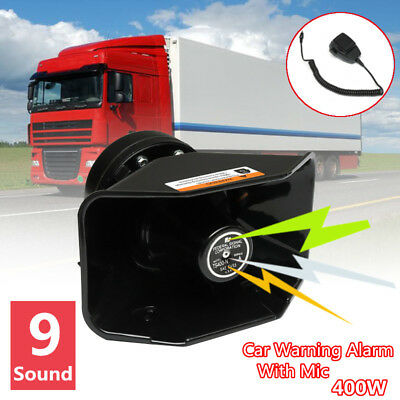 400W 9 Sound Loud Car Warning Alarm Police Fire Siren Horn PA Speaker MIC
