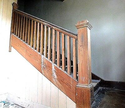 1900s Wooden STAIRCASE Newels Railing Trim Stairs Oak CRAFTSMAN Style ORNATE