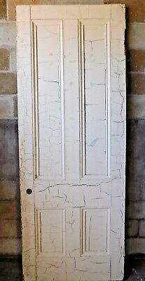 Antique Italianate 8' Tall Four Panel Door - C. 1860 Fir Architectural Salvage