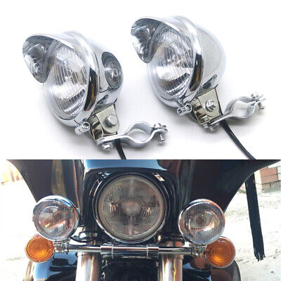 Chrome Passing Spot Fog Light With Roll Cage Guard Bar Tube Mount Bracket Clamp