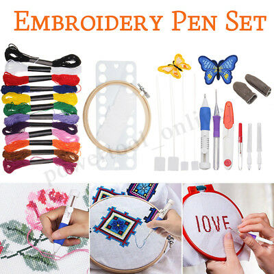 Embroidery Needle Pen Kit Set Craft Punch Magic DIY Knitting 12 Color