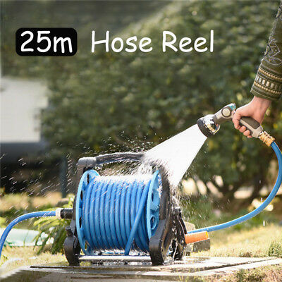 25M Portable Garden Watering Hose Pipe Reel Lawn Waterpipe Cart Storage