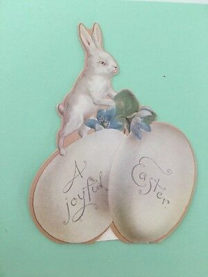 """Die cut paper Easter card Bunny on Eggs easel back 6.75""""x5"""" by Winslow Papers"""