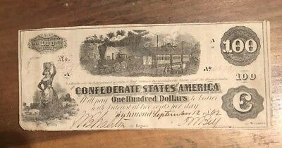 CONFEDERATE STATES OF AMERICA $100 Note 1862 Authentic And Nice Currency Bill