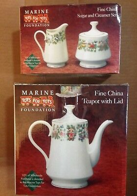 Marine Toys For Tots Fine China Teapot w/ Lid -Sugar & Creamer