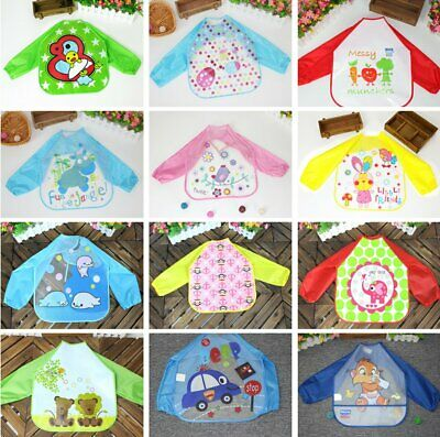 Baby Long Sleeve Bibs Bib Apron Waterproof Art Smock Feeding Toddler Children IK