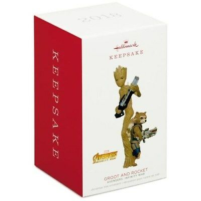 2018 Hallmark Keepsake Marvel Avengers: Infinity War Groot and Rocket Ornament