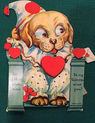 0417S Vtg Die Cut Valentine Card Mechanical Dog W/ Moving Eyes Dressed As Clown
