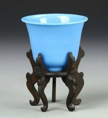 Antique Turquoise Blue Peking Glass Cup with Timber Stand - Chinese/China