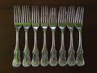 """8 HEAVY COIN SILVER KINGS PATTERN 8"""" LARGE DINNER FORKS, 1840's JONES LOWS BALL"""