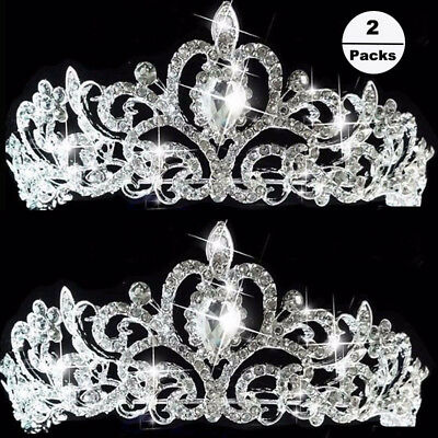 2x Princess Austrian Bridal Crystal Wedding Hair Tiara Crown Prom Veil Headband
