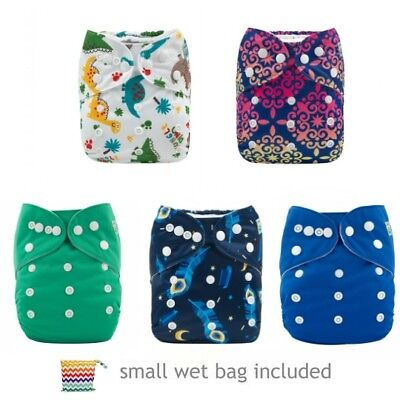 Cloth Nappies Alva Baby Pocket Nappies x 5 with small wet bag