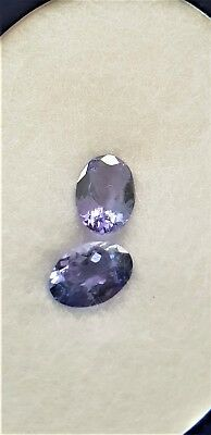 Tanzanite Gemstones Certified 2 x identical Oval shaped gems 1.44cts total IF