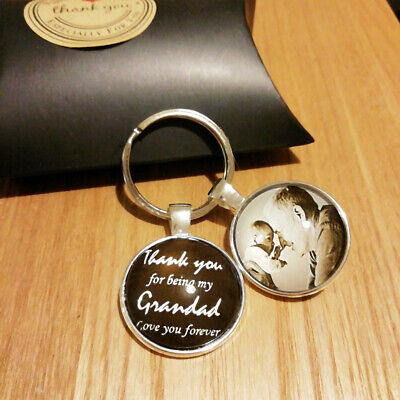 Personalised Thank You Photo Glass Keyring Christmas Gifts Mum Best Friend Dad