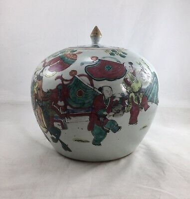 chinese antique porcelain 19 th c Qing Dynasty Famille Rose Jar/Urn With Lid