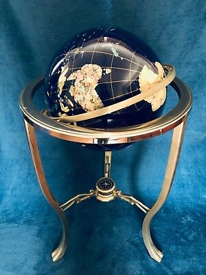 Mother of Pearl Gemstone WORLD GLOBE Floor Stand, Semi-Precious Stones