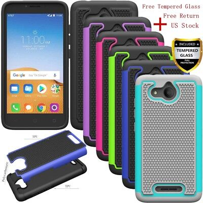 For Alcatel Tetra Shockproof Armor Rugged Silicone Rubber TPU Hard Case Cover