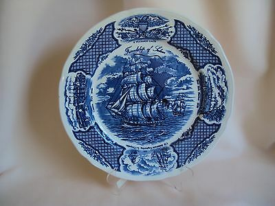 Vintage Cobalt Blue Fair Winds Original Copper Engravings Porcelain Plate