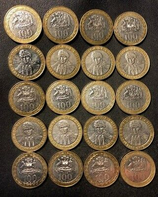 Old Chile Coin Lot - 100 PESOS - 20 Bi-Metal Coins - Uncommon - Lot #D8