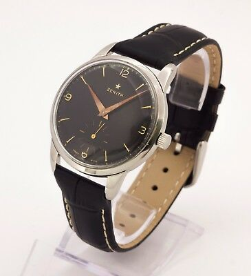 1950's Vintage ZENITH 40 stainless steel Swiss made watch, black dial, 17 jewels