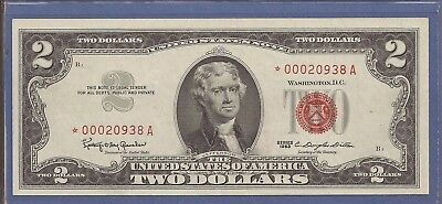 1963 $2 United States Note (USN),*Rare* Star Note,Red Seal,CH Crisp XF,Nice!