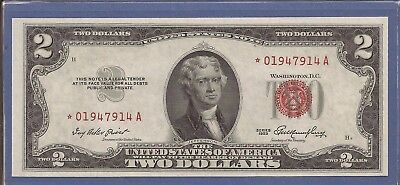 1953 $2 United States Note (USN),*Rare* Star Red Seal Note,CH Crisp AU,Nice!